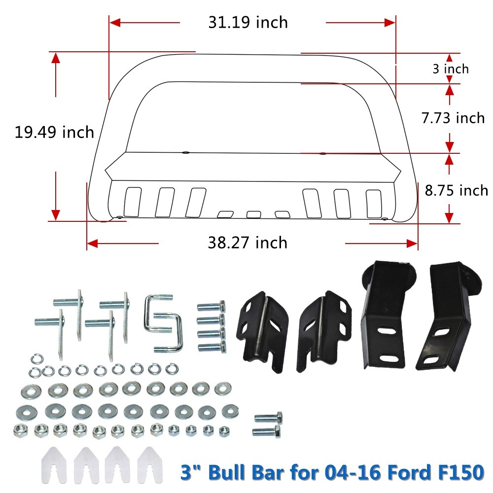 Autosaver88 Bull Bar For 04 18 Ford F150 Stainless Chrome 3 2004 F 150 Frame Wiring Diagram More Views