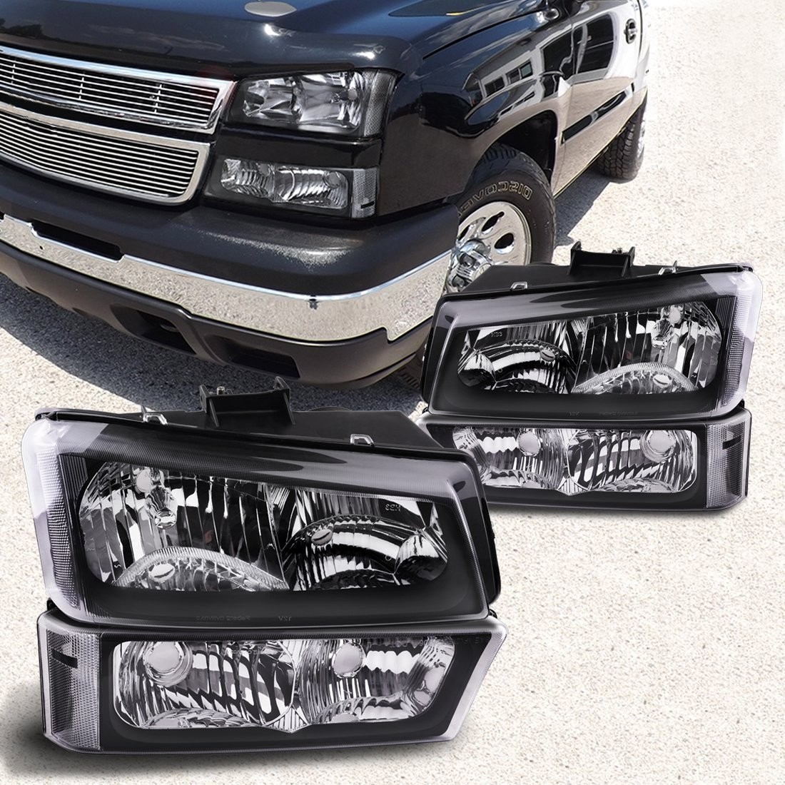 Headlight Assembly kit for 03 04 05 06 Chevy Avalanche / 03-07 Chevrolet Silverado 1500HD / 03-06 Chevrolet Silverado 2500HD