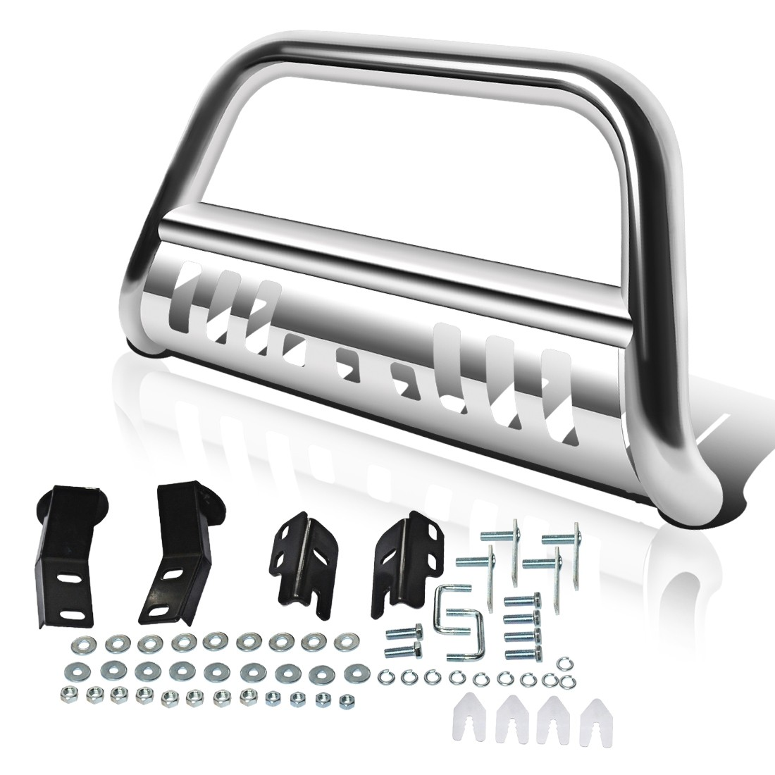 "AUTOSAVER88 Bull Bar for 04-18 Ford F150 Stainless Chrome Bull Bar 3"" Push Front Bumper Grill Grille Guard with Skid Plate"