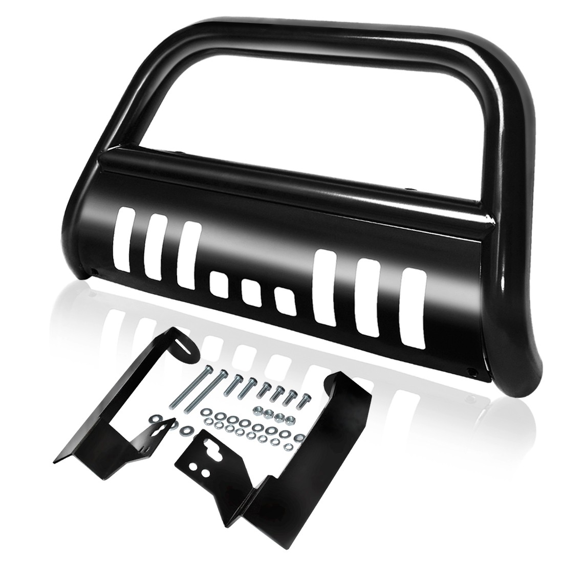 "AUTOSAVER88 3"" Bull Bar for 1994-2001 Dodge Ram 1500, Front Bumper Grille Brush Push Guard Steel Include Skid Plate Light Mount - Black"